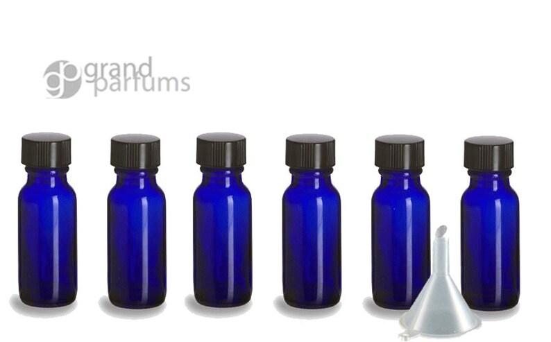 a79e4afa56b3 12 PREMIUM 1/2 Oz Cobalt BLUE Boston Round Essential Oil Empty Glass  Bottles 15 ml (15g) Leak-Proof Black Phenolic Caps Aromatherapy Bottles