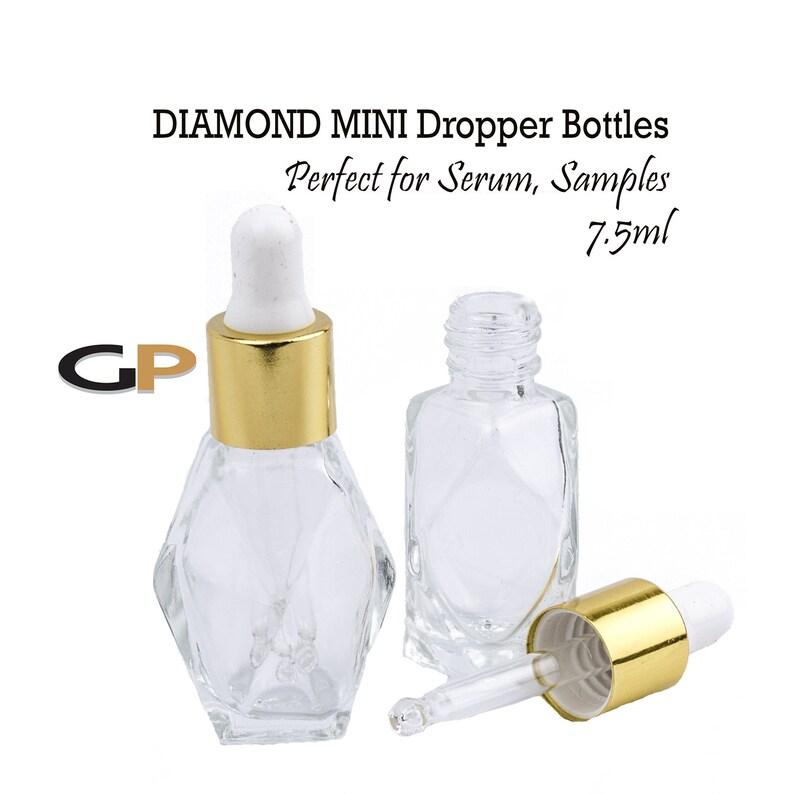 11a3a016a6bb 12 Pack PREMIUM Diamond Shaped 7.5ml Clear Glass Dropper Bottle, SiLVER or  GOLD Caps Sampling Perfume Bottles 1/6 Oz Essential Oil, 5 ml