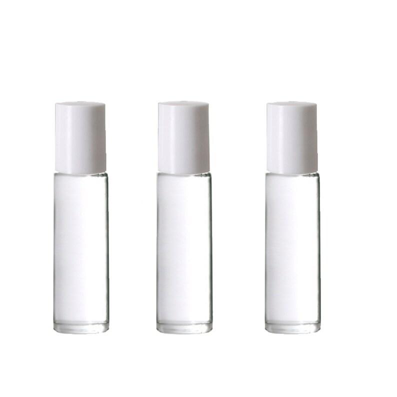 e9fe3f43700a SALE! 12 Clear 10 ml ROLLeR BOTTLES, Essential Oil 10ml ROLL On Bottles  White Caps, Empty refillable rollon Oils, Perfume Black , White Caps