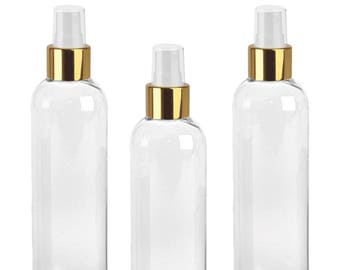 LUXE Clear SPRAY Bottles 4 Oz, BPa Free PET Plastic w/ Gold Fine Mist Cap, for Spraying Perfumes, Freshener, Bug Spray Aromatherapy