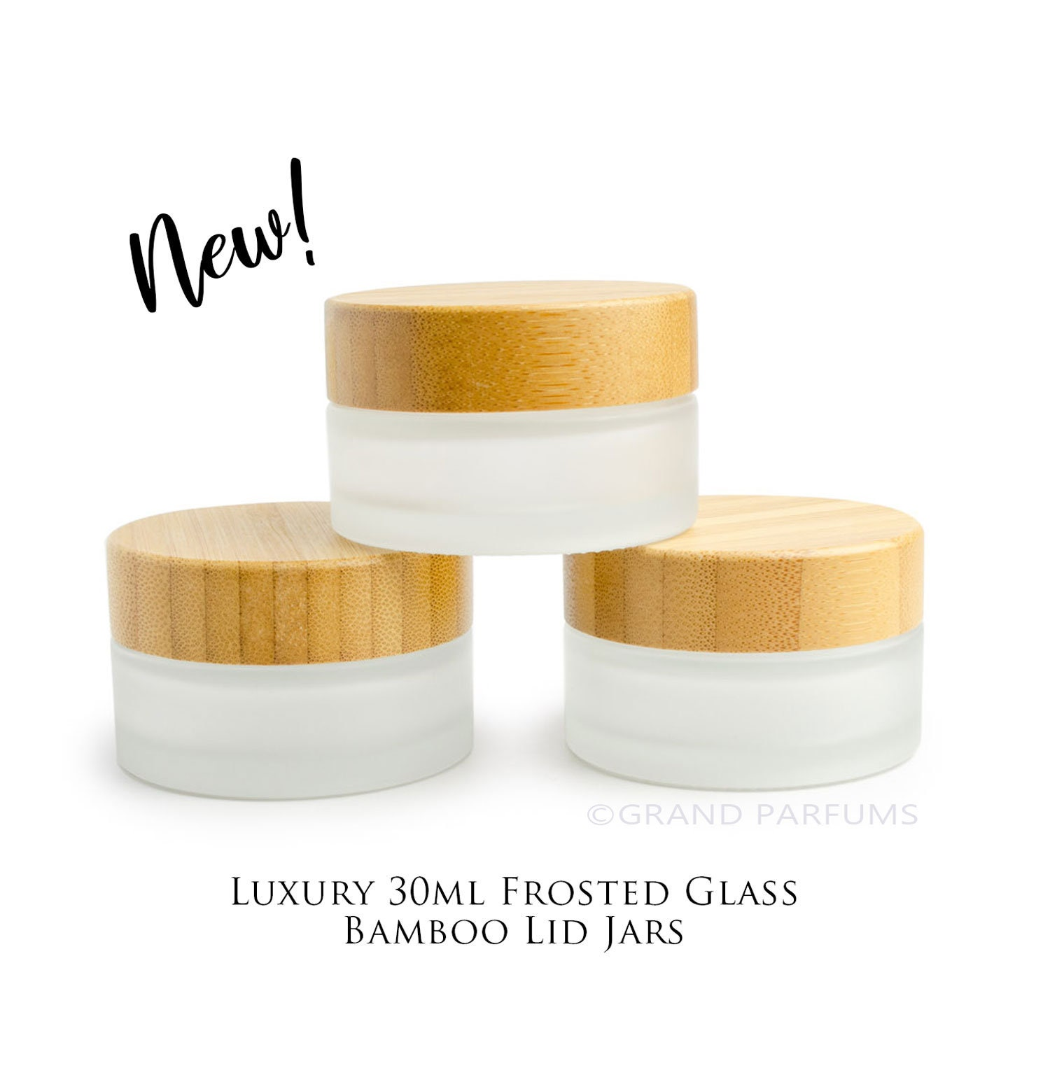 b2c0f737d68d 3 NATURAL BAMBOO Caps on Premium FROSTED Glass 30mL Jars, w/ Sealing ...