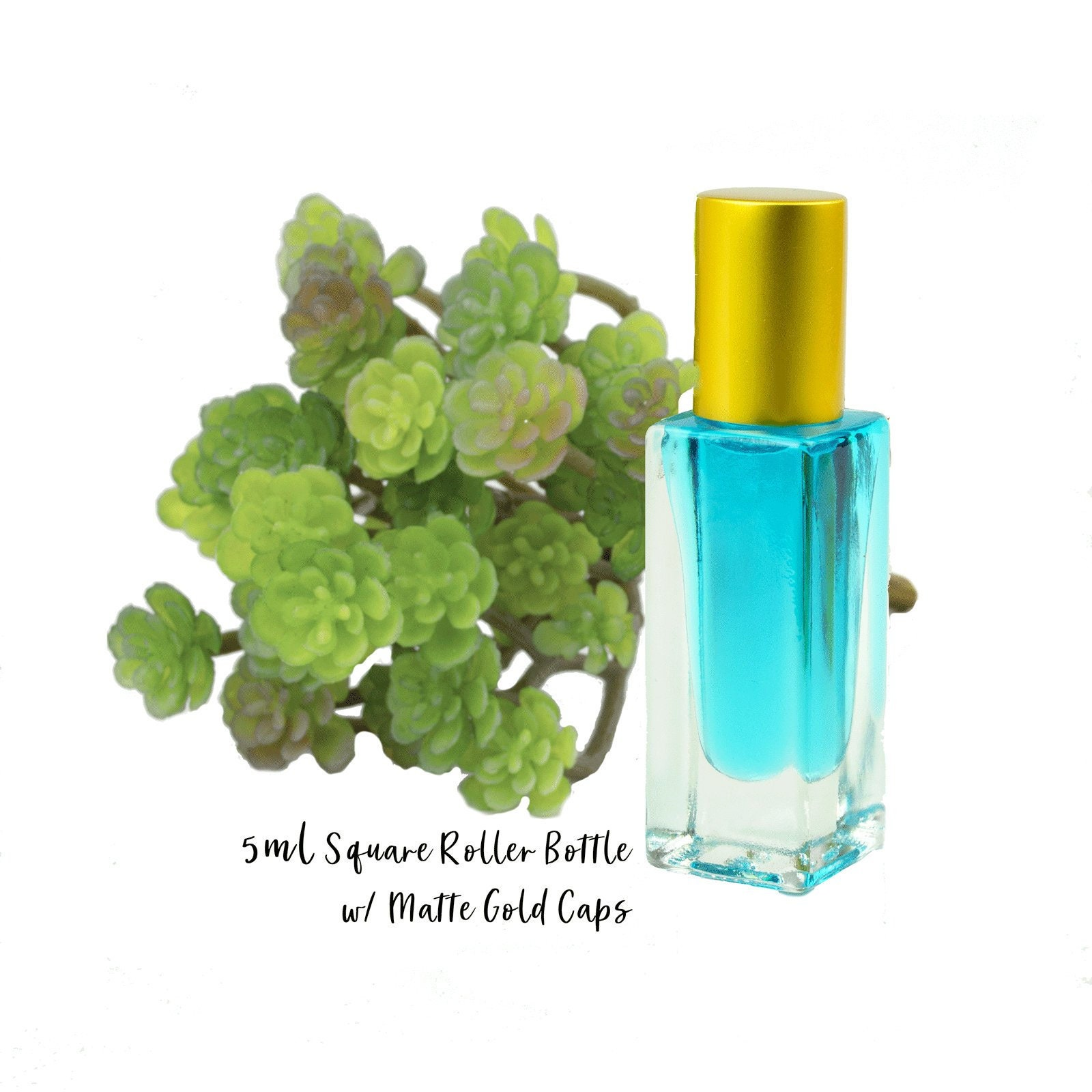 30732f8e04d6 5 ml SQUARE Roller Bottle, Essential Oil 5ml Clear Glass Roller, Gold Caps  Perfume Bottles STEEL Balls, 1/6 Oz Essential Oil Blends, 5 ml