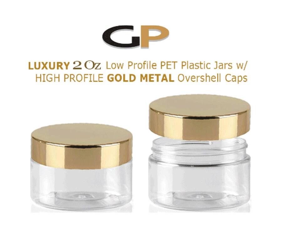 6d9fb4ed666e 1 LUXURY 2 Oz Low Profile Clear 2 Oz PET Plastic Jars 60ml w ...