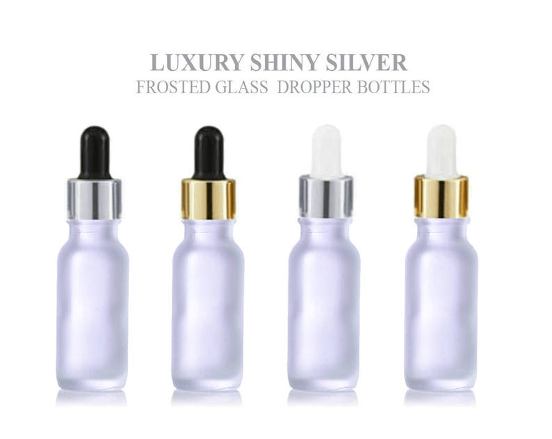 9d248a5a972b 24Pcs 15ml FROSTED Glass Boston Round Bottles Premium Gold or Silver Metal  Dropper Caps Essential Oil Serum Cosmetic Product Dispersal