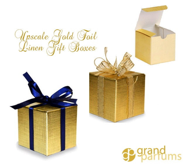 50 Gold Linen Foil Gift Boxes Upscale Sturdy Metallic 4 X 4 X 4