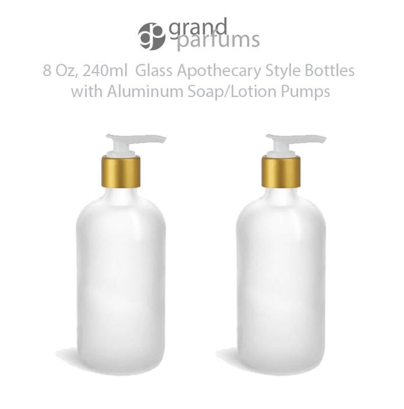 841e2eb7f922 1 Glass Lotion Pump Bottle, CLEAR FROSTED 8 Oz Bottles Shampoo Liquid Soap  Hand Cream Apothecary w/ Matte Gold ALUMINUM Overshell Pumps