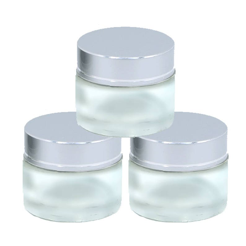faa78e37178c 3 MINI Luxury 20ml FROSTED Glass Cosmetic Jars 20 ml w/ Premium Matte  SILVER Caps Solid Perfume , Lip Scrub, Balm Salve, Anti-Aging 2/3 Oz