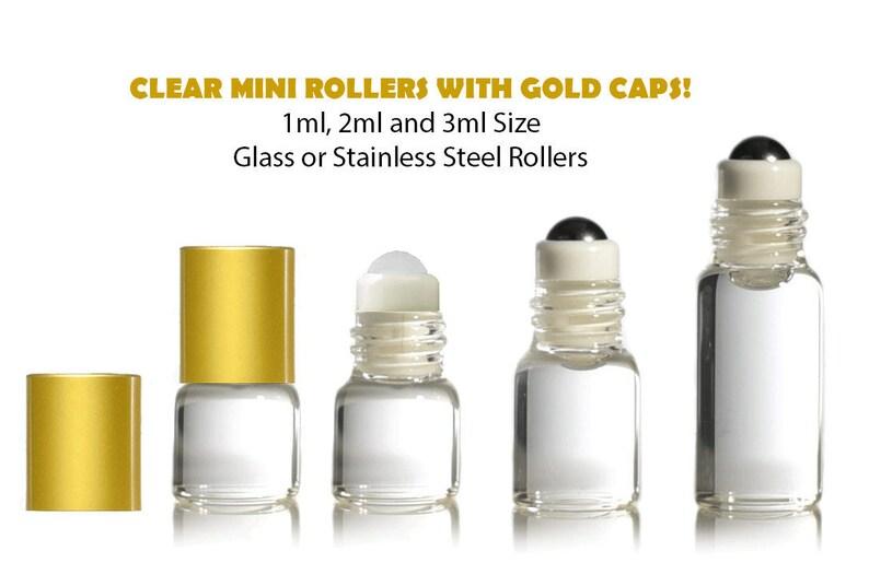 of 12 Pkg 1 Oz Roll-on Roller Glass Bottle