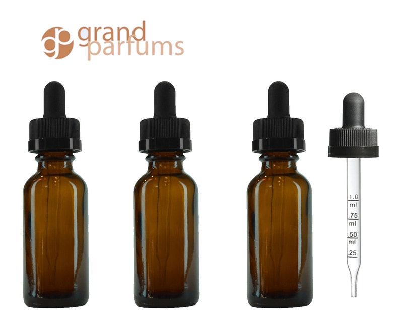 d1b89bae19f7 3 Dark Amber 30mL 1 Oz w/ Graduated CALIBRATED GLASS DROPPER Bottle Boston  Round Oil Serum Essential Oils Measuring Perfumers Tool