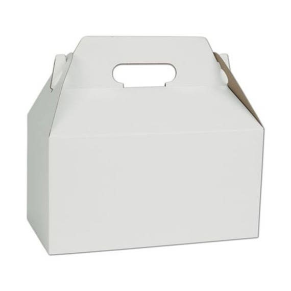 10 WHITE GABLE BOXES Wedding Gift Box, 9.5 x 5 x 5 Large Bridal Shower Bridesmaid Gift, Lunch Party Box Upscale Sturdy Holiday, Favor,