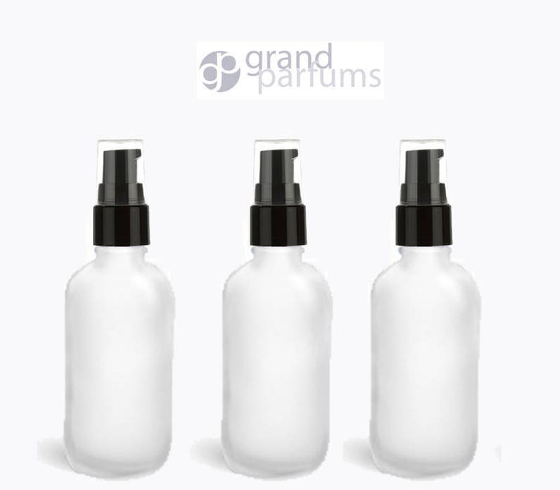 6d753c6c40c5 6 UPSCALE 30ml FROSTED Glass Bottles w/ Black Treatment Pumps 1 Oz Boston  Round Bottle Refillable Pump Cosmetic Skincare Packaging Serum