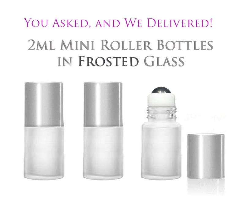 aaf3a3ae3d90 6 FROSTED Mini Glass RollerBall Bottles 2ml Rollon with MATTE SILVER Caps  Glass or Steel Rollers Refillable Rollon Empty- Essential Oil Safe