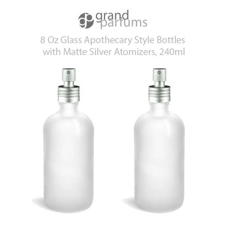 c92b542118a9 Set of 2 Glass, CLEAR FROSTED 8 Oz Bottles Essential Oil, Linen Spray,  Perfume Apothecary Style w/ Matte Silver ALUMINUM Fine Mist Sprayers