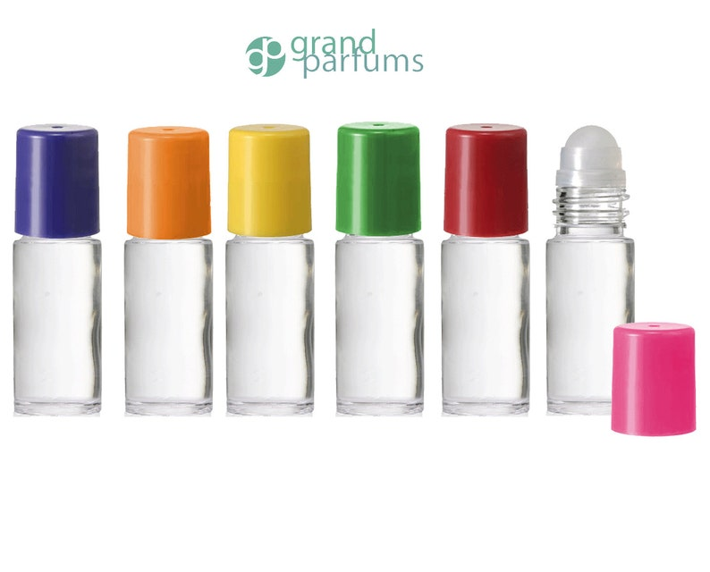 c64799d505f5 6 Clear PREMIUM 30ml (X-Tra Large) Roll On Bottles JUMBO Roller Balls 30 ml  Essential Oil, Perfume Lip Gloss Rainbow Colored Caps Roll-on
