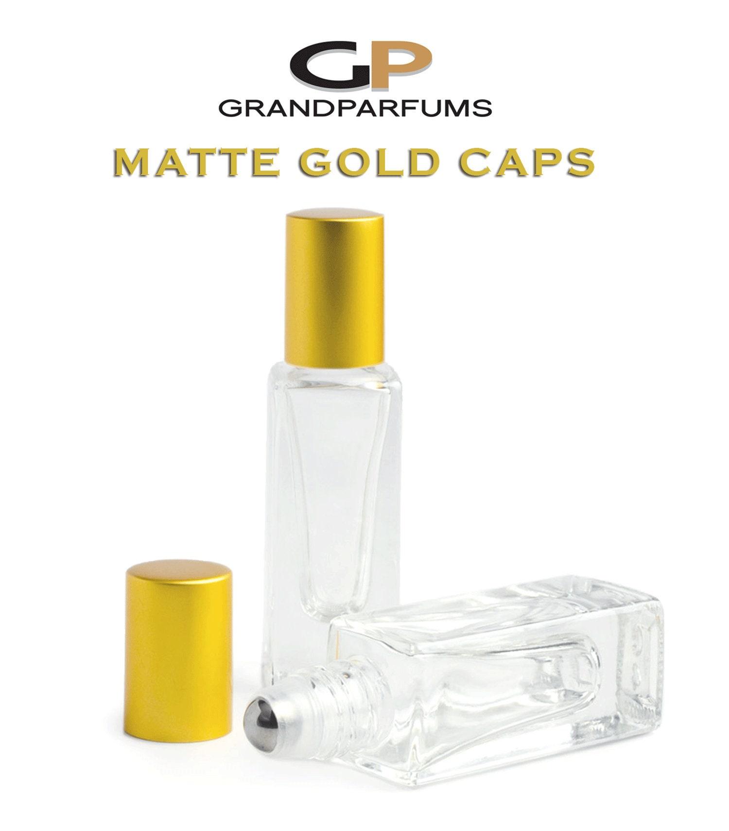 ce34f93cbb56 12Pcs 5ml Roller Bottles, MATTE Gold/Silver Caps LUXuRY SQUARE Clear ...