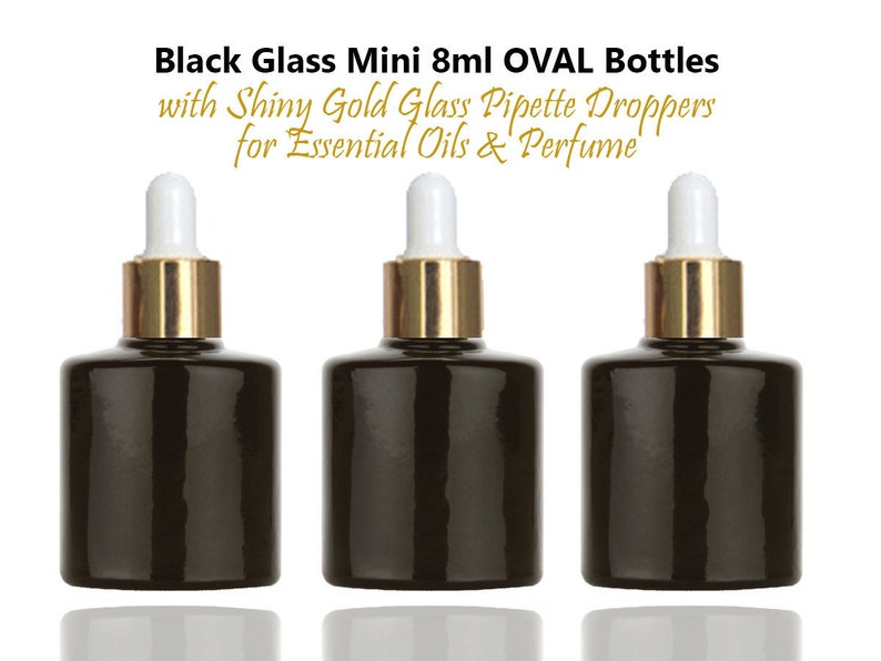 0ddf9b3ebd53 6 Mini LUXURY 8ml Black Glass Bottles, Dropper Bottles with Shiny UPSCALE  GOLD Caps for Perfume, Essential Oil, Serum, Samples 1/3 Oz