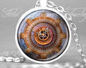 WEATHERED GEAR CLOCK Pendant Antique Clock Face Vintage Clock Necklace Antique Clock Jewelry Antique Moondial Vintage Clock Necklace Gift