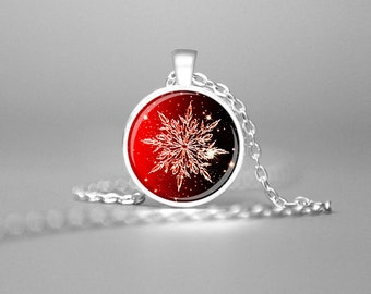 SNOWFLAKE NECKLACE CHRISTMAS Pendant Red Winter Necklace Christmas Necklace Snowflake Jewelry Winter Pendant Holiday Pendant Holiday Gift