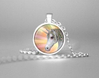 UNICORN NECKLACE UNICORN Jewelry Unicorn Charm Necklace Unicorn Pendant Unicorn Gift Fantasy Necklace Fantasy Jewelry Fantasy Art Rainbow