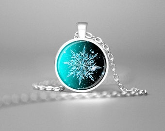 SNOWFLAKE PENDANT CHRISTMAS Pendant Snowflake Jewelry Winter Pendant Holiday Pendant Aqua Winter Necklace Christmas Necklace Holiday Gift