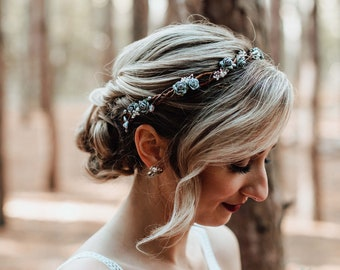 Maternity Photoshoot Silver Flower Crown Bridal Wedding Tiara with Pink pearls Woodland Queen Wedding Headpiece Metal Hair Accessory