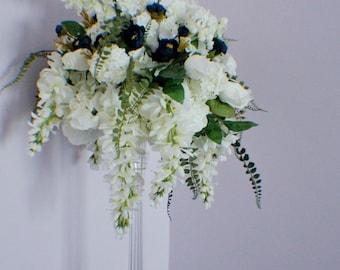 Extra Large Wedding Centerpiece, Cascading Centerpiece, Silk Wedding Flowers, Roses, Fern, Ranunculuses, Wisteria, Wedding Decor Flowers
