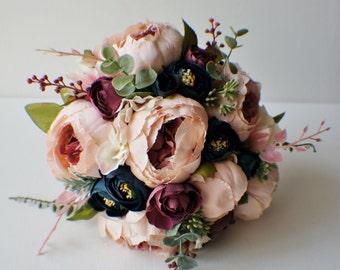 Silk wedding flowers etsy peony bridal bouquet silk wedding flowers blush wedding flowers vintage wedding rustic wedding shabby chic wedding bride bridesmade mightylinksfo