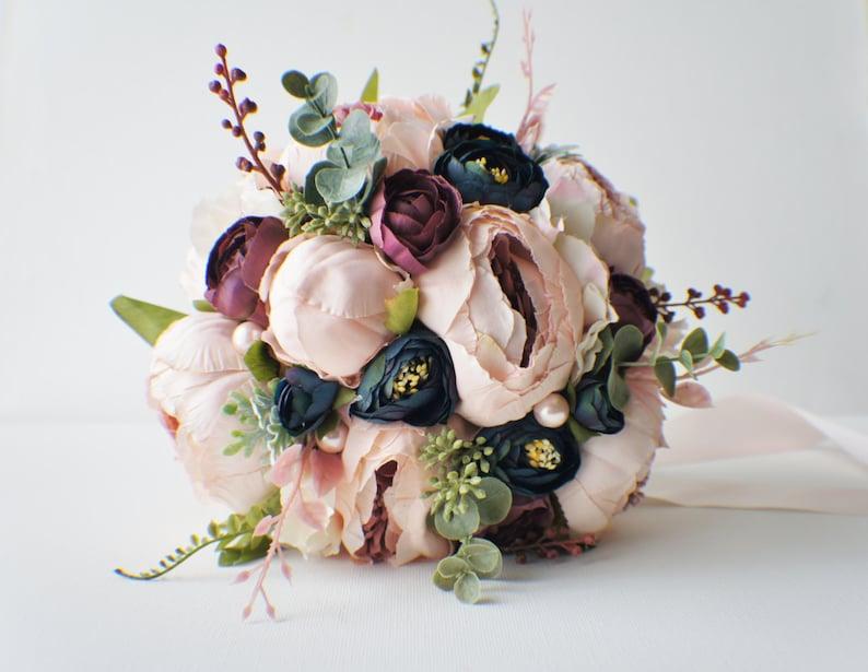 Peony Bridal Bouquet Silk Wedding Flowers Blush Wedding image 0