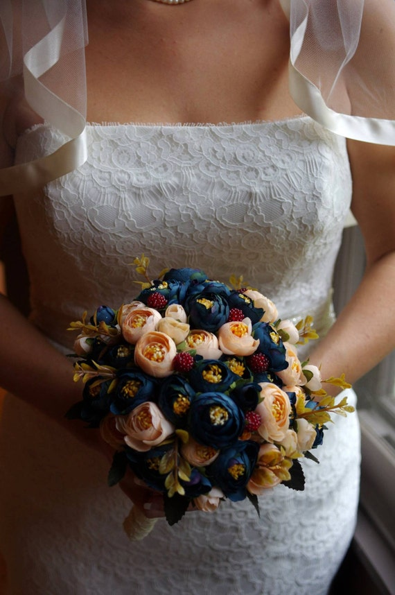 Bridal Bouquet Blue And Champagne Ranunculus Silk Wedding Etsy