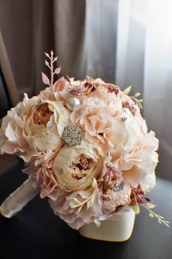 Pfingstrose Brautstrauss Seide Hochzeit Blumen Brosche Etsy