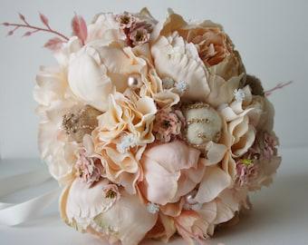 Peony Bridal Bouquet, Silk Wedding Flowers, Champagne Wedding Flowers, Vintage Wedding, Rustic Wedding Shabby Chic Wedding, Bride Bridesmade