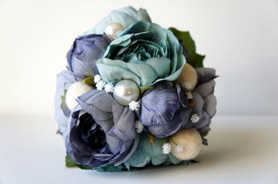 Blaue Pfingstrose Brautstrauss Seide Hochzeitsblumen Vintage Etsy