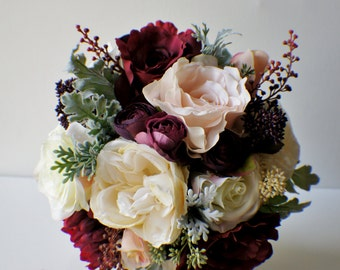 Bridal Bouquet, Wedding Bouquet, Ivory and red Bouquet, Wedding Floral, WEdding Flowers, Bridal Bouquet, Brides Bouquet, Bridesmaid Bouquet
