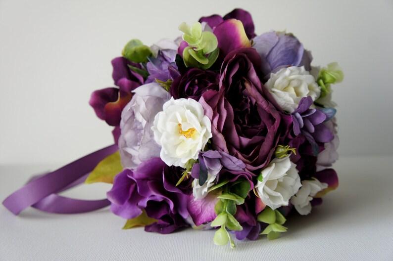 Vintage Wedding Rustic Wedding Shabby Chic Wedding Bride Bridesmade Purple Peony Bridal Bouquet Silk Wedding Bouquet