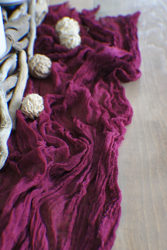 Wedding Gauze Table Runner Burgundy Wedding Cheesecloth | Etsy