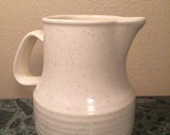 Vintage Porcelain/Ceramic Creamer Glazed with Light Brown Speckles on Cream Base