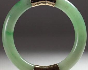 8442a1b97b6 Vintage Ming's Hawaii Jade Pale Green 14K Yellow Gold Bangle Bracelet