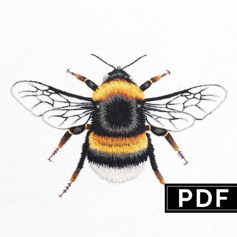 Bee: Hand Embroidery Pattern. Thread Painting Tutorial. PDF image 0