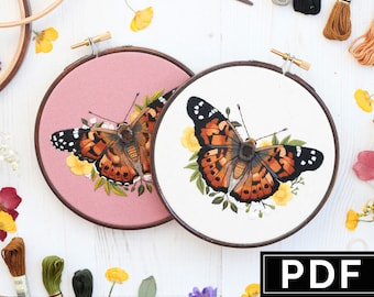 PDF Digital Instant Download / Painted Lady Butterfly / DIY Embroidery Pattern / Needlepainting Tutorial / By Emillie Ferris