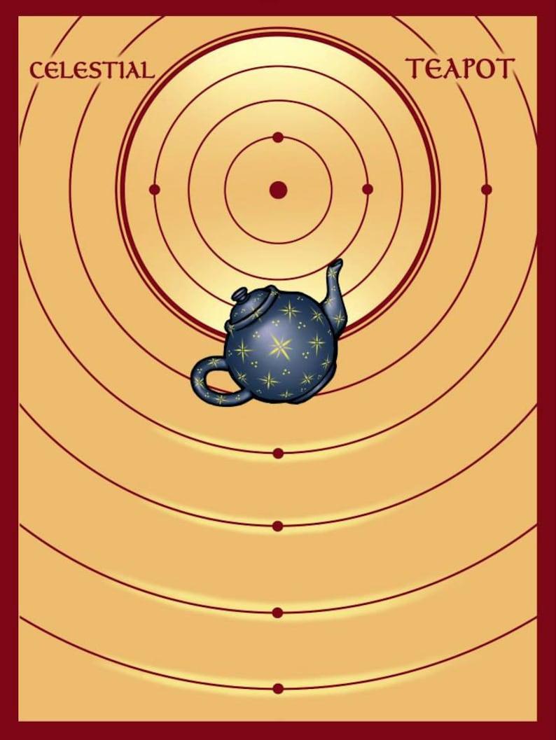 Celestial Teapot  Pseudo religious icon Greek Orthodox Style image 0