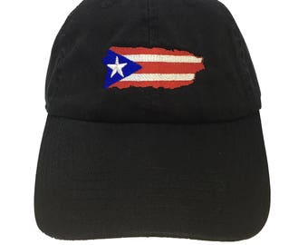 Flag Puerto Rico Island Black Adjustable Strapback Cap Dad Hat 8d024bcbe82b