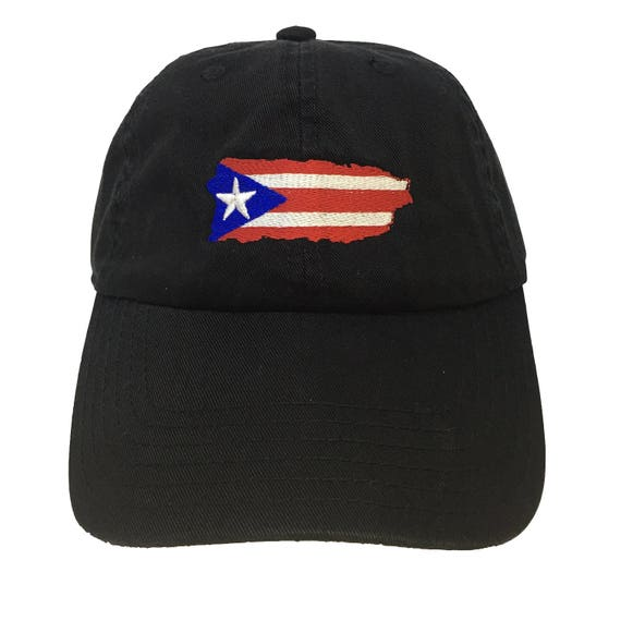 141e610da53 Flag Puerto Rico Island Black Adjustable Strapback Cap Dad Hat