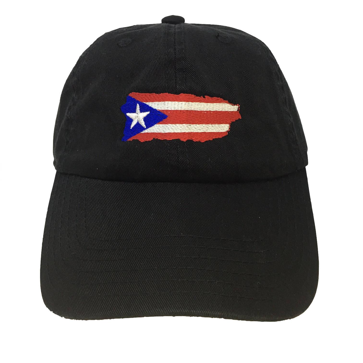 Flag Puerto Rico Island Black Adjustable Strapback Cap Dad Hat  9f85e5100a24