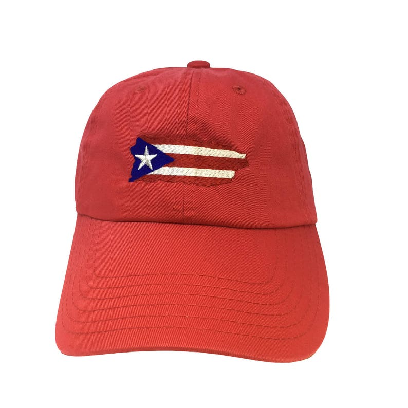 cb9f49da8bdae Flag Puerto Rico Island Red Adjustable Strapback Cap Dad Hat