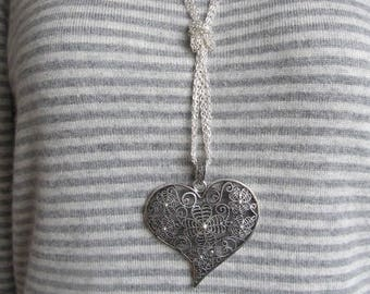 Chunky Pendant with Large Tibetan silver Heart and 3 x 32 inch silver chains