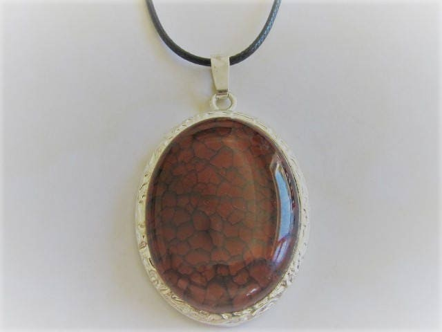 Red and Silver Faux Snake Skin Necklace