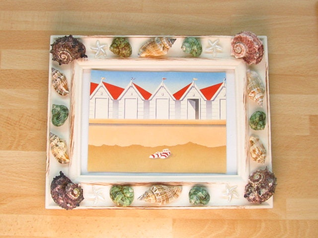 Cream Picture Frame Decorated With Genuine Sea Shells Choice Of