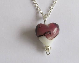 VALENTINE-Murano glass Locket heart -Purple and White Murano glass Pendant -20x20 mm pendant- choice of necklace-perfect gift for her