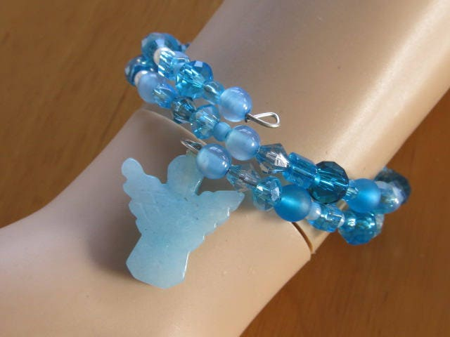 2 layered Blue memory wired bracelet with Angelite angel-beaded ...