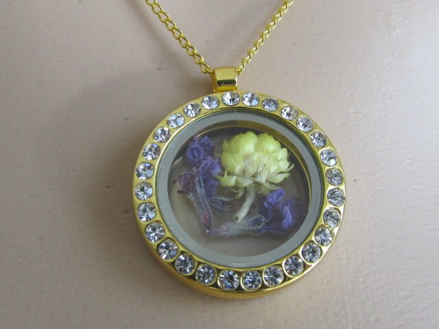 Gold Pendant With Diamonte Around Frame And Glass Both Sides White c0e7c6ca9a36